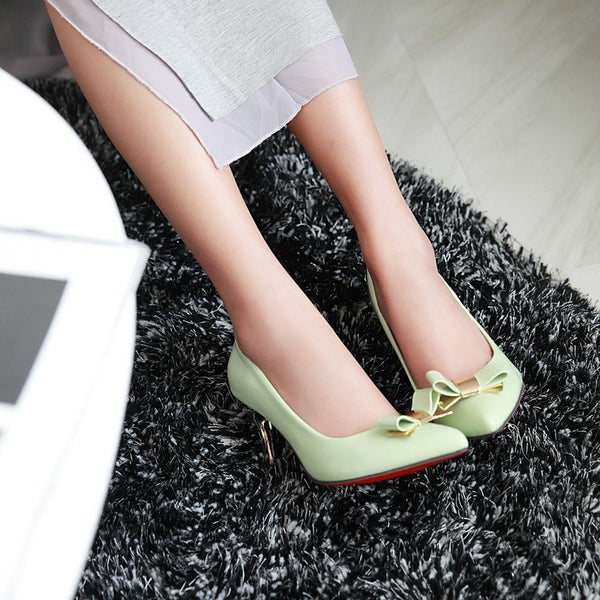 Pointed Toe Bow Pumps Women Stiletto High Heels Patent Leather Shoes 5796