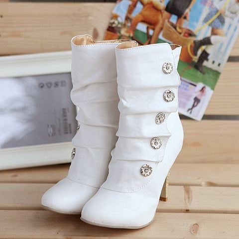 Soft Leather High Heels Mid Calf Boots Plus Size Women Shoes 6411