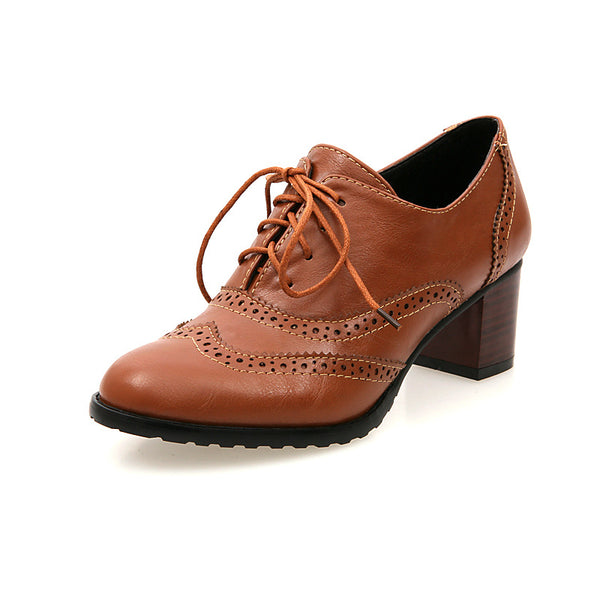 Lace Up Women Oxford Mid Heels Shoes 1947