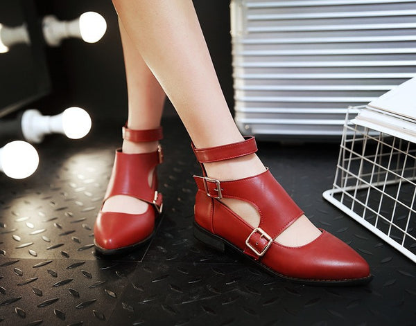 Pointed Toe Hollow Out Belt Buckle Women Heels Shoes 8609