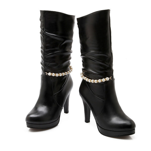 Pearl Mid Calf Boots High Heel for Women 8289