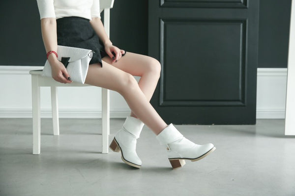 Soft Leather Mid Calf Boots Chunky Heel 8448