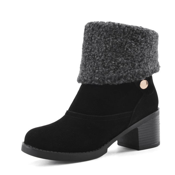 Flock Chunky Heel Ankle Snow Boots 1585