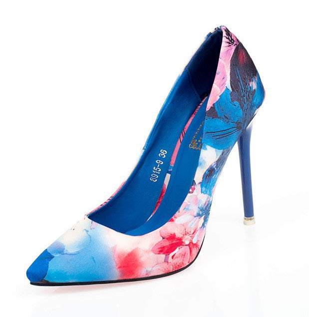 Pointed Toe Floral Printed High Heels Stiletto Heel 5207