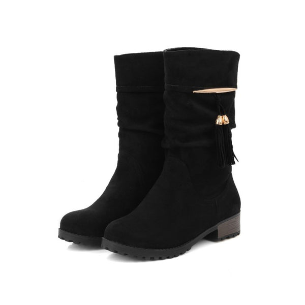 Tassel Suede Mid Calf Boots for Women 6851
