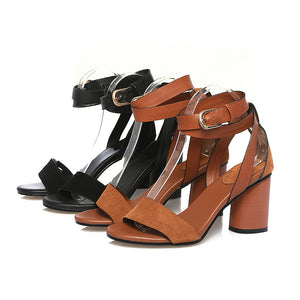 Ankle Strap Genuine Leather Sandals Chunky High Heels Shoes Woman 2064