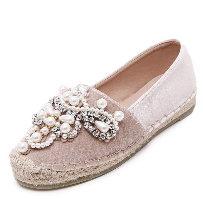 Rhinestone Pearl Espadrilles Loafers Shoes Flats 3543
