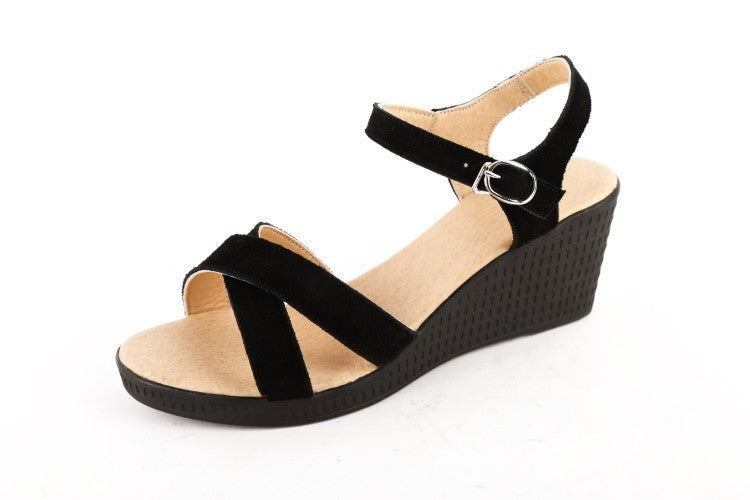 7959d4f2782 ... Genuine Leather Women Sandals Wedge Heels Shoes for Summer 2673 ...