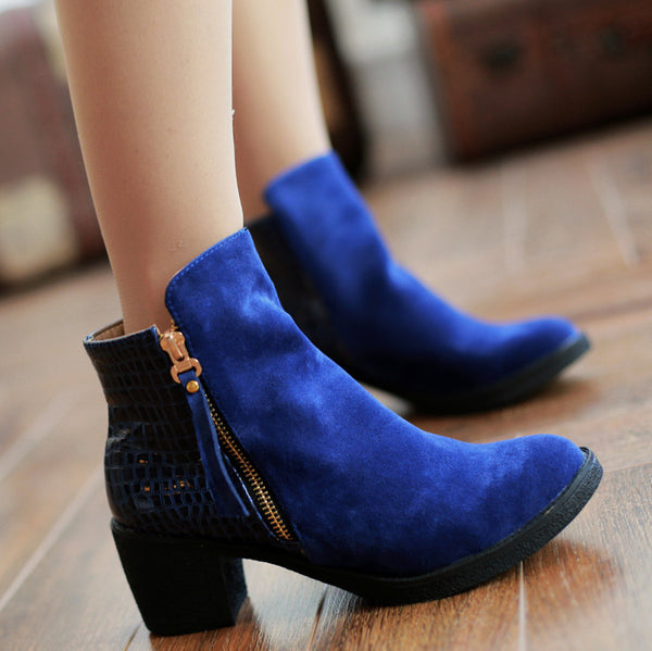 Zip Tassel Chunky Heels Short Boots Plus Size Women Shoes 1920