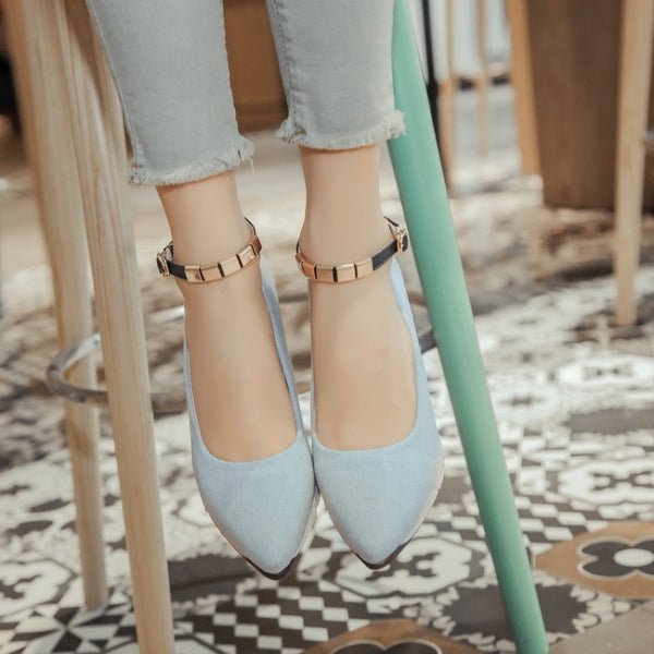 Ankle Straps Wedge Women Mid Heels Shoes 3458