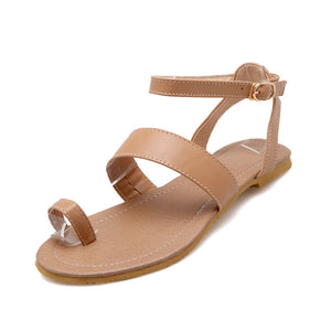 Women Ankle Straps Flat Sandals Shoes 6567