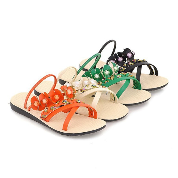 Women Flower Slippers Flat Sandals Shoes 7510