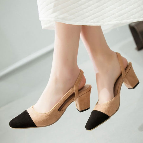 Women's Slingbacks Mid Heeled Sandals Dress Shoes for Summer 7633