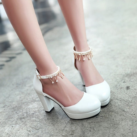 Summer Ankle Straps Rhinestone Platform Sandals High Heels for Women Shoes MF6638