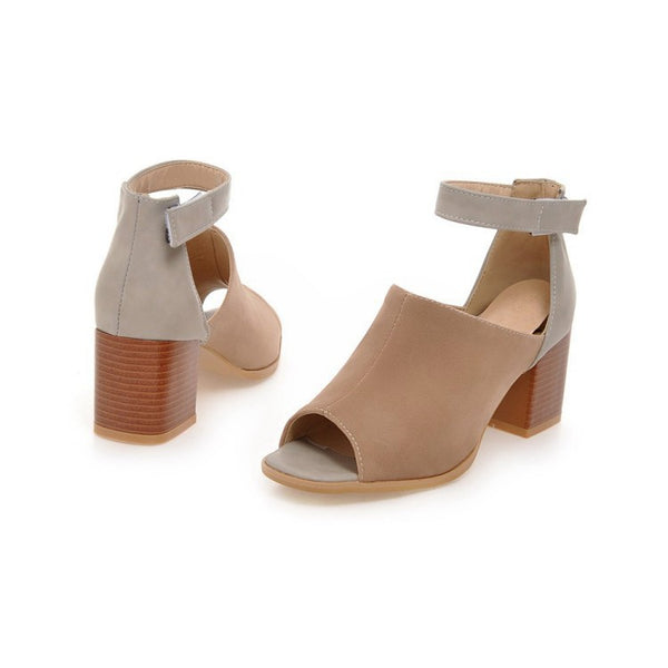 Ankle Strap Open Toe Sandals Chunky Heels Shoes Woman 6367