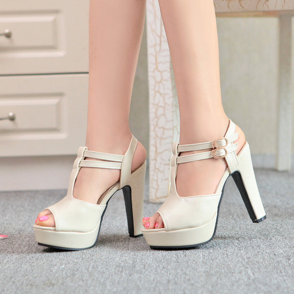 T Straps Platform Sandals High Heels Shoes Woman 7968