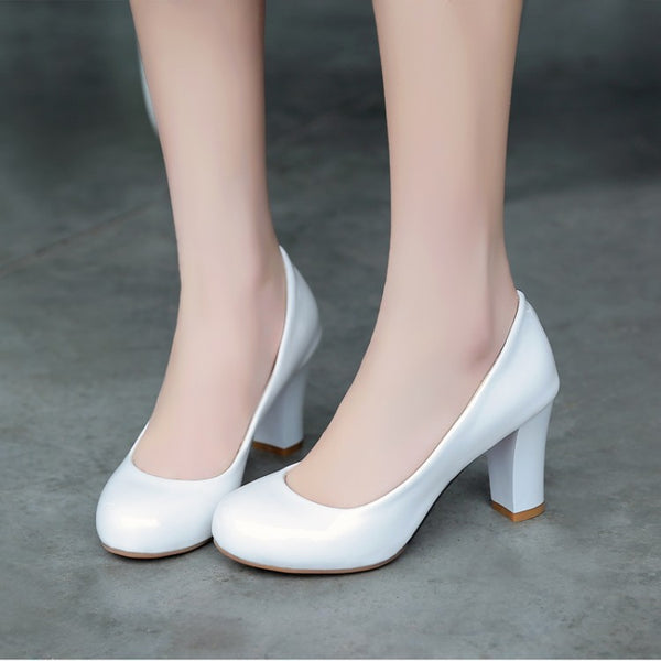 Patent Leather Chunky High Heel Shoes Woman 6425