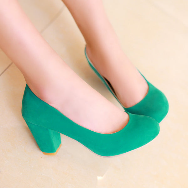 Suede Women Mid Chunky Heels Shoes 5321