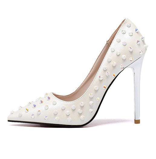 Pointed Toe Studded Pumps High Heels Stiletto Heel 9949