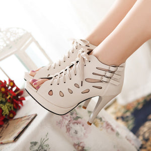 Lace Up Platform Sandals High Heels Shoes Woman 1985