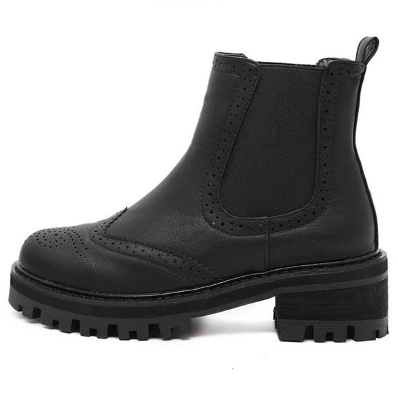 Round Toe Women Motorcycle Boots Gear Sole 5736