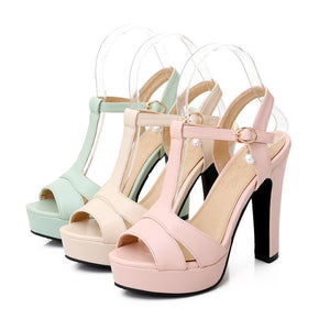 T Straps Pearl Platform Sandals High Heels Shoes Woman 4926