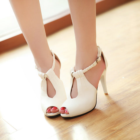 Ankle Strap Peep Toe Sandals High Heels Shoes Woman 6792