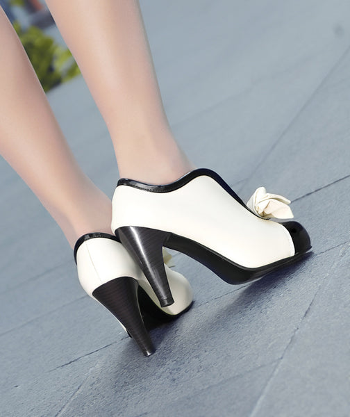 Bow Tie Mix Color High Heeled Shoes for Women 9727