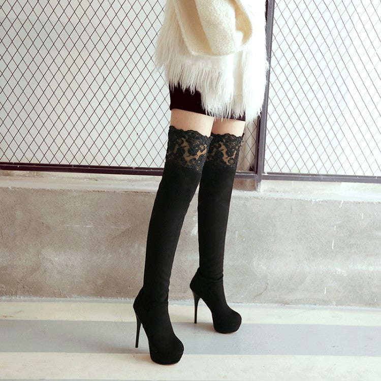 adc25bae3031 Lace Platform High Heel Over the Knee Boots for Women 7044 – meetfun