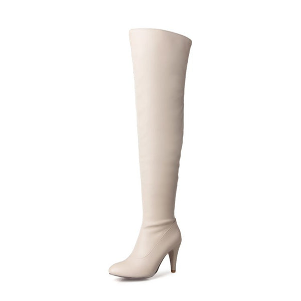 Pointed Toe High Heels Thigh High Boots for Women 4360