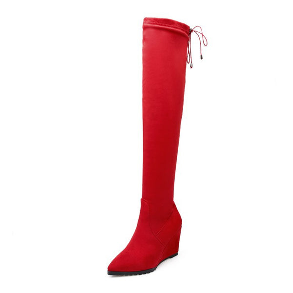 Pointed Toe Thigh High Boots Boots Wedge Heel for Women 9637