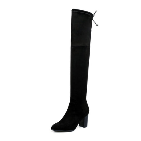 Pointed Toe Chunky Heel Over the Knee Boots for Women 7759