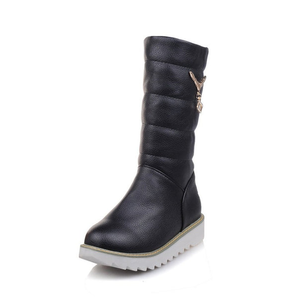 Casual Mid Calf Snow Boots Platform Shoes 9918