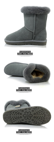 Warm Fur Lining Real Leather Snow Boots 8120