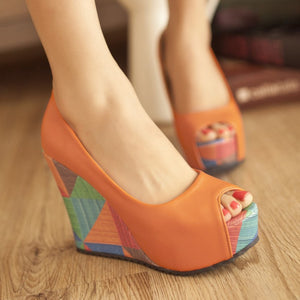 Peep Toe Women Platform Sandals Wedge Heels Shoes for Summer 4340