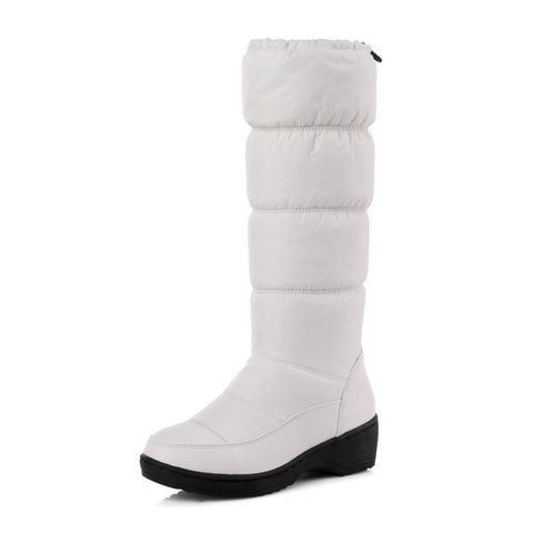 Water-proof Antiskid Knee High Snow Boots Wedge Heels Shoes for Woman 2472