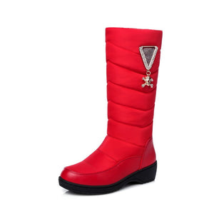 Down Rhinestone Wedge Snow Boots for Women 8234