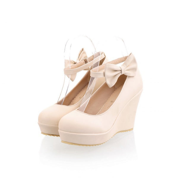 Ankle Straps Bow Tie Platform Wedges Heels Shoes for Women 5551