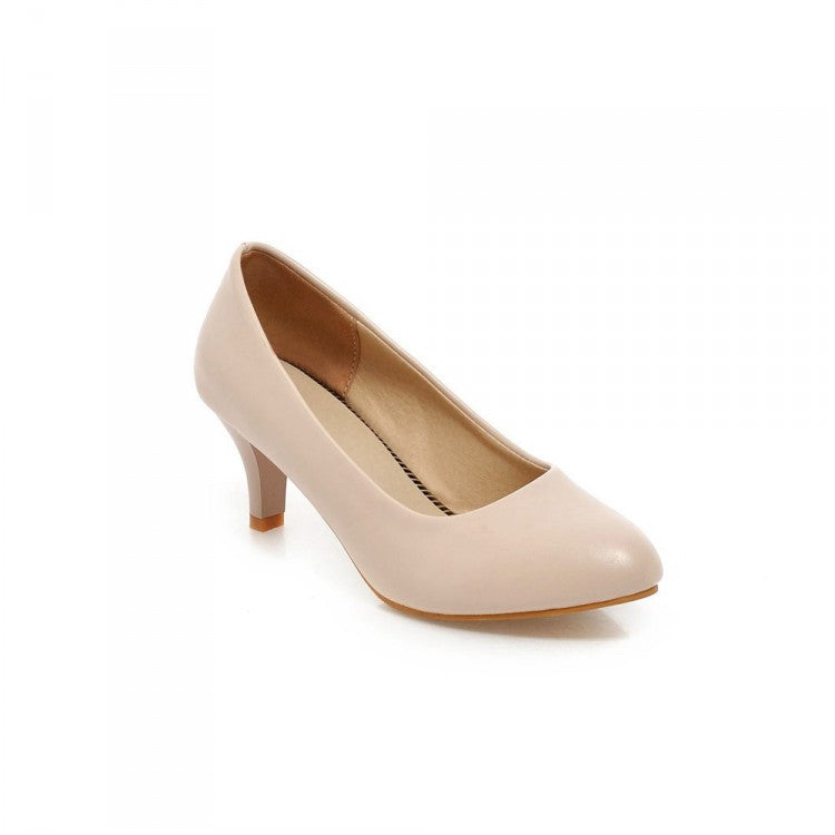 Pointed Toe Women Pumps Mid Chunky Heels Shoes 1359