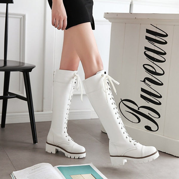 Cross Straps Tall Boots Chunky Heel for Women 1239