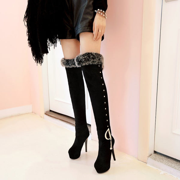 Fur Studded Tassel High Heels Over the Knee Boots for Women 9654