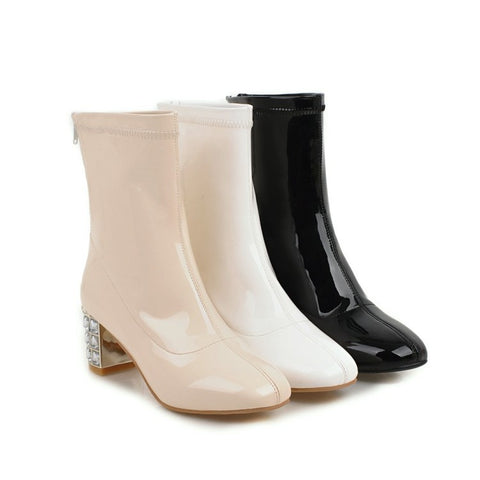 Patent Leather Zipper Mid Calf Boots 6553
