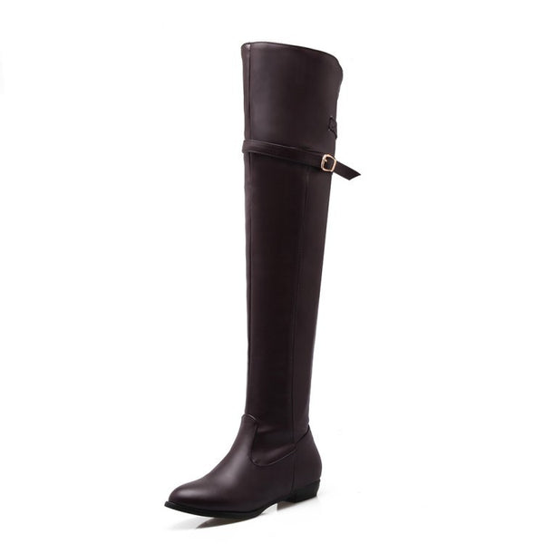 Slim Belt Buckle Over the Knee Boots Shoes for Woman 3930