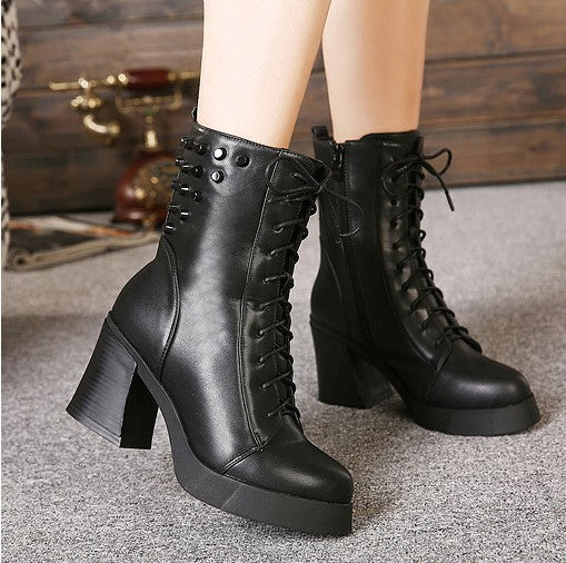 Lace Up Studded Motorcycle Boots High Heels 1449