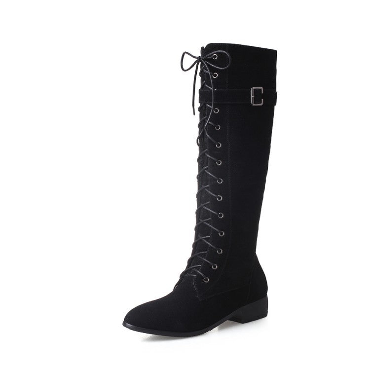 61b0bba6274b Strappy Suede Tall Boots for Women 1241 – meetfun
