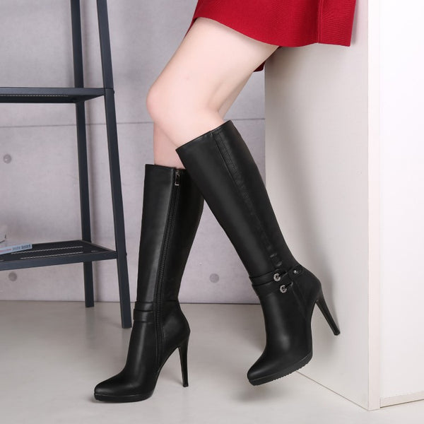 Pointed Toe Black High Heels Tall Boots for Women 6232