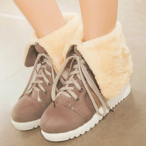 Lace Up Fur Snow Boots Flats Shoes 7151