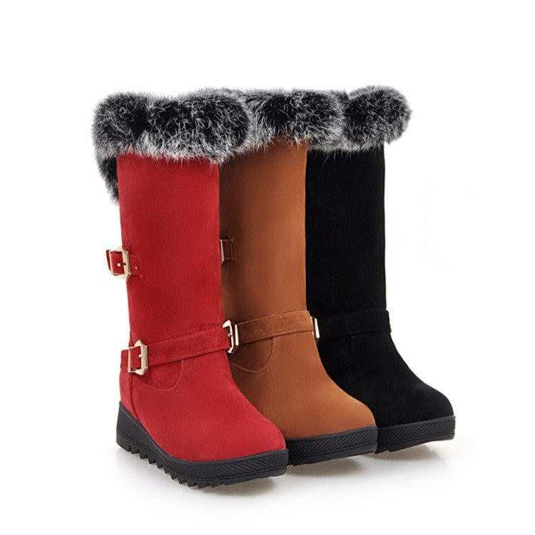 Fur Buckle Mid Calf Boots Wedge Heel 9014