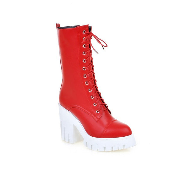 Lace Up Chunky Heeled Motorcycle Boots for Women 3523