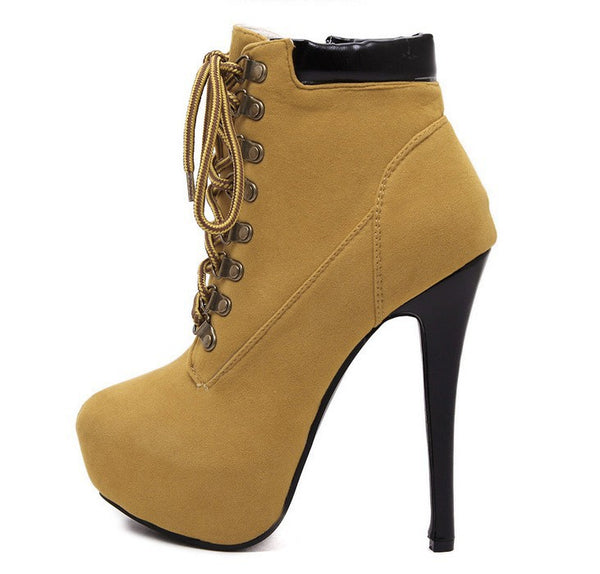 Lace Up Platform Short Boots Stiletto Heel 2525